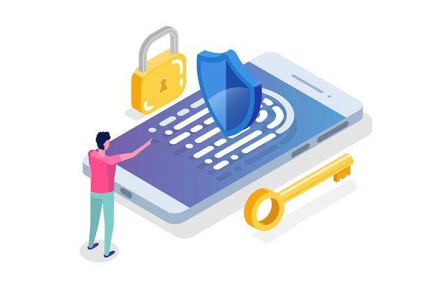 Sicherheit und vertrauliche personenbezogene daten isometrisches konzept.
