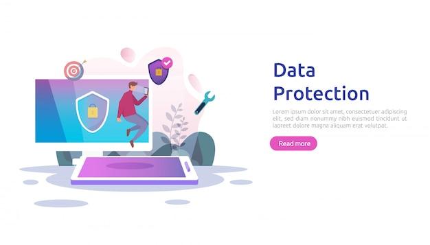 Sicherheit und vertraulicher datenschutz. vpn internet netzwerksicherheit. verkehrsverschlüsselung persönliches datenschutzkonzept mit personencharakter. web-landingpage, banner, präsentation, social media oder printmedien