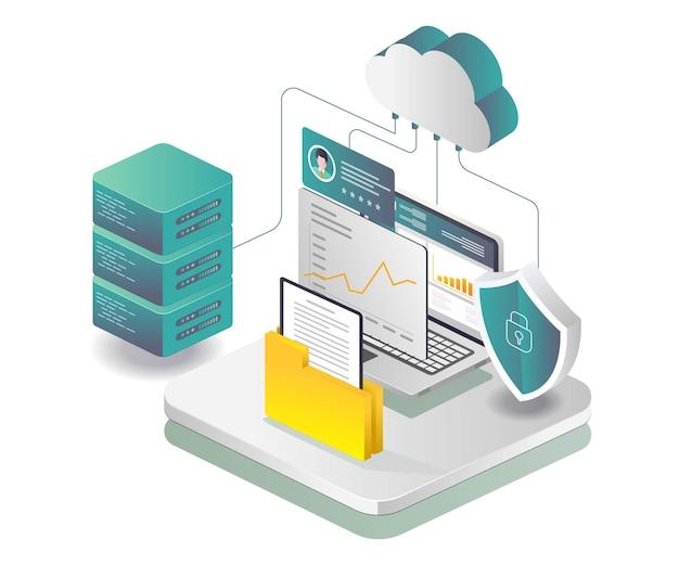 Sicherheits-cloud-server-datenanalyse und e-mail