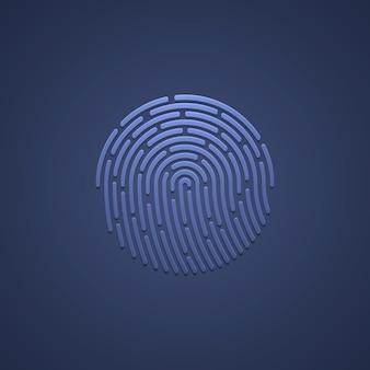 Sicherheits-fingerabdruck-authentifizierung. fingeridentität, biometrische illustration der technologie. fingerabdruck-vorlage.