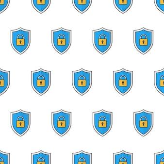 Sicherheits-schild-nahtloses muster auf einem weißen hintergrund. schild-schutz-thema-vektor-illustration Premium Vektoren