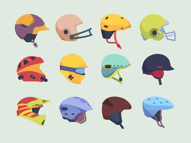 Sicherheits-sporthelm. kopfunfallschutzartikel rennen motorrad-hockey und paintball-helmvektor. illustration schutzhelm für motorrad und sportausrüstung