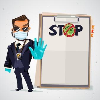 Sicherheitsbeamter mit stop-to-virus-text auf papier