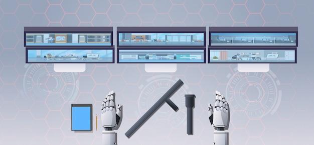 Sicherheitsbot am arbeitsplatz mit monitorroboter