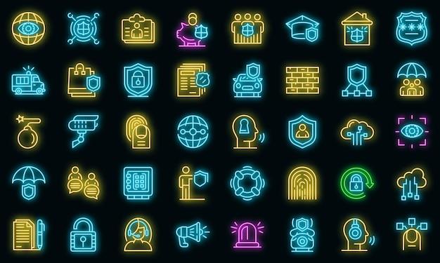 Sicherheitsdienstsymbole eingestellt. umrisse von sicherheitsdienstvektorsymbolen neonfarbe auf schwarz