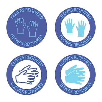 Sicherheitshandschuhe sind erforderlich. rundes blaues symbol mit schriftzug handschuhe innen erforderlich. symbole zur virenprävention. konzept zur verhinderung der virusverbreitung. vektor-illustration isoliert auf weißem hintergrund