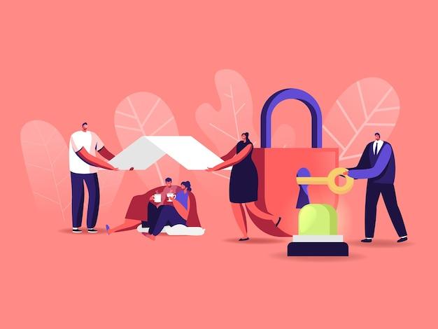 Sicherheitsillustration mit winzigen zeichen Premium Vektoren