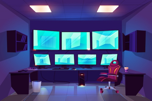 Sicherheitskontroll-überwachungsrauminnenraum mit mehreren monitoren, die video von überwachungskameras anzeigen