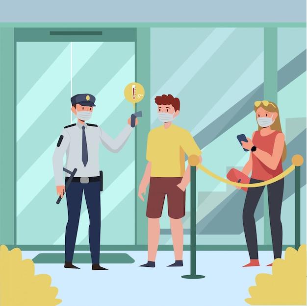 Sicherheitskontrolle körpertemperatur der kunden am eingang des einkaufszentrums