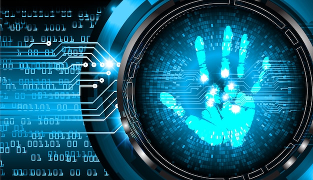 Sicherheitskonzept, cybersicherheit, fingerabdruck. scannen. handabdruck.