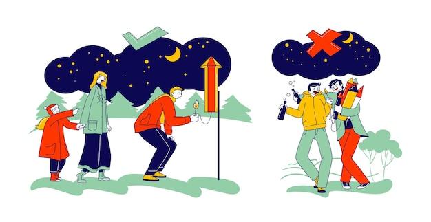 Sicherheitskonzept für feuerwerkskörper. falscher und richtiger weg für brennende petarden. glückliche familiencharaktere, die weihnachtsfeier genießen. betrunkene männer brennen haufen von petards in händen. lineare menschen-vektor-illustration