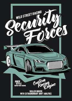 Sicherheitskräfte, illustration eines klassischen rennwagens