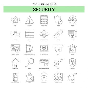 Sicherheitslücken-ikonen-set - 25 gestrichelte entwurfs-art Premium Vektoren