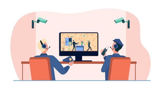 Sicherheitspersonal beobachtet raubüberfälle auf videoüberwachung
