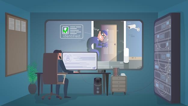 Sicherheitsraum. der wachmann beobachtet den einbrecher im sicherheitsraum