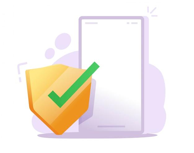 Sicherheitsschild auf dem handy-schutz online für den schutz vor internet-webviren