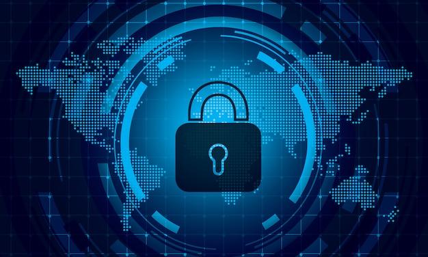 Sicherheitstechnologie-konzeptvektor weltkarte punktiert hintergrund