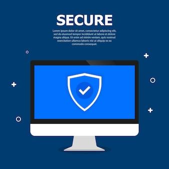 Sicherheitstoken auf dem bildschirm computer. dunkelblauer und weißer text oben.