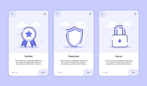 Sicherheitsüberprüfter schutz sicherer onboarding-bildschirm für die benutzeroberfläche der banner-seite für vorlagen für mobile apps