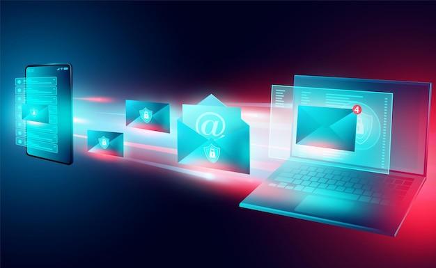 Sicherheitsversand von e-mails zwischen telefon und computer-laptop