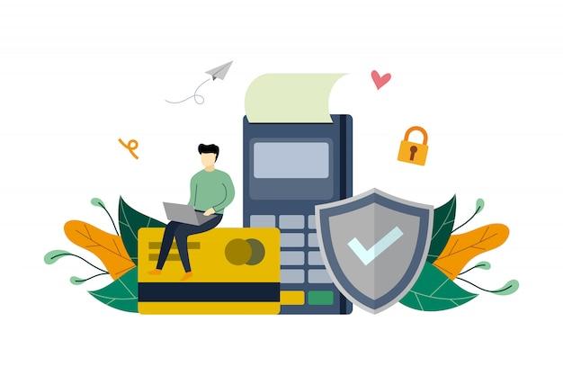 Sichern sie die online-zahlung, den kreditkartenschutz und auf flacher illustrationsschablone des elektronischen terminals zahlen