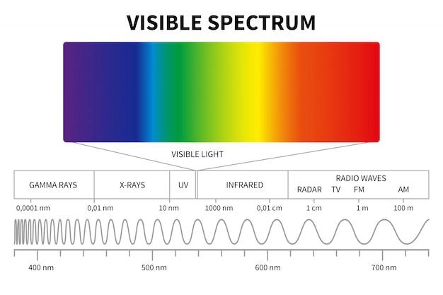 Sichtbares licht diagramm. elektromagnetisches farbspektrum, lichtwellenfrequenz.