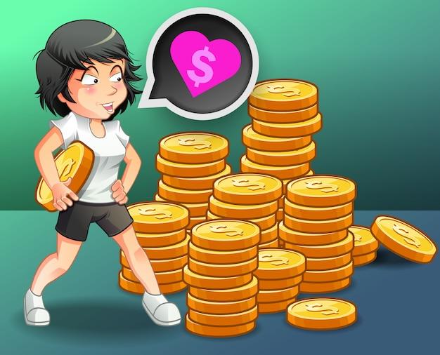 Sie liebt geld.