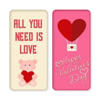 Sie müssen alle liebe ist glücklich valentin banner-set