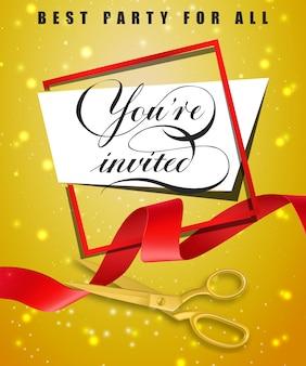 Sie sind eingeladen, beste Party für alle festlichen Poster mit Rahmen und Goldscheren