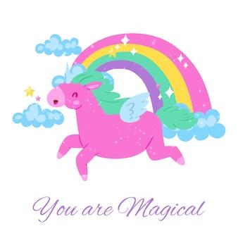 Sie sind magisch, inschrift auf hellem, niedlichem, bild, glücklichem rosa einhorn, illustration, auf weiß. buntes fantasieplakat, babyzimmerdekoration, regenbogen mit wolken.
