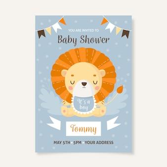 Sie sind zur babyparty für jungen mit löwen eingeladen