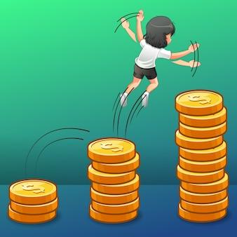 Sie springt ins geldwachstum.