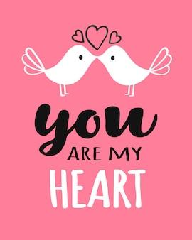 Sie und ich, die mit dem küssen der vögel valentinstagkarte beschriften