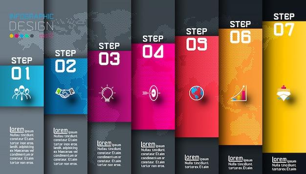 Sieben bunte stangen mit infographic schablone der geschäftselemente