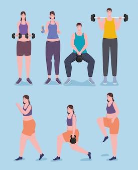 Sieben fitnesssportler