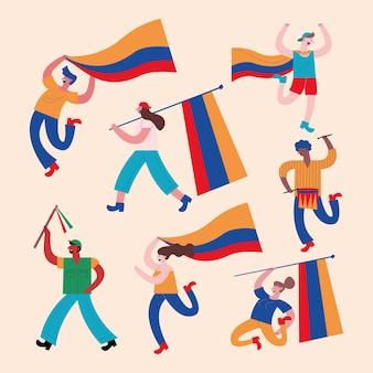Sieben kolumbianische demonstranten