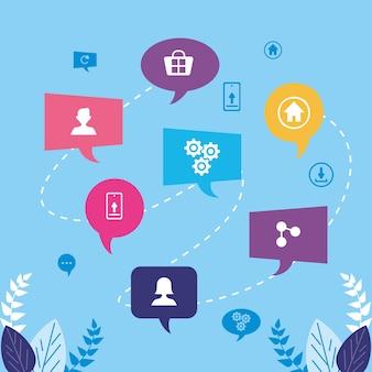Sieben kommunikations-sprechblasen