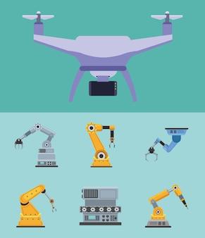 Sieben produktionsroboter