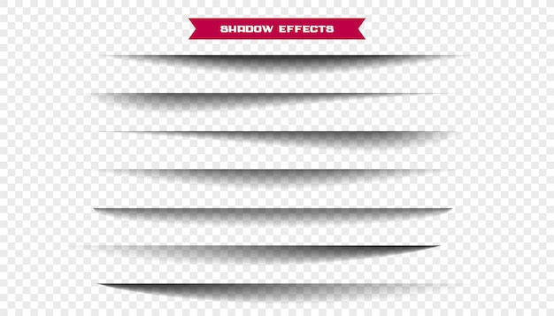 Sieben realistische breite papierblattschatten gesetzt