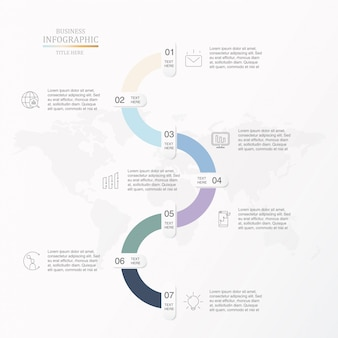 Sieben schritte für business-infografik.