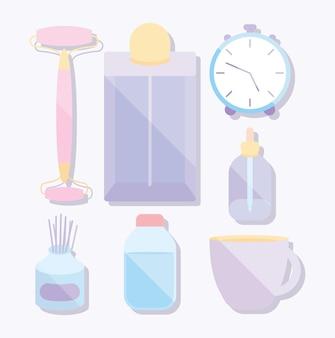 Sieben selbstpflegeartikel