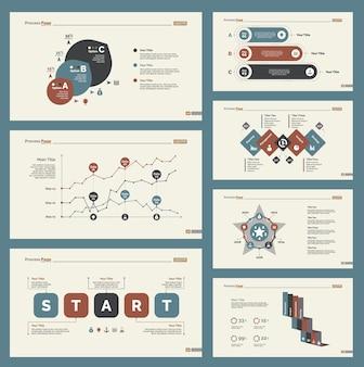 Sieben statistiken slide templates set