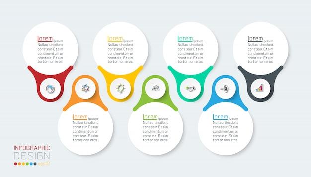 Sieben vertikale infografikenleiste.