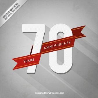 Siebzig jahrestag mit einem roten band
