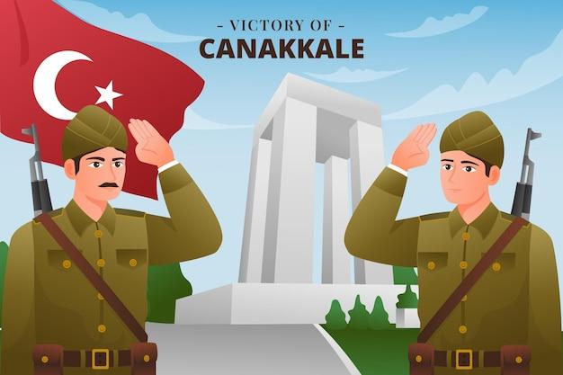 Sieg der canakkale-gradientenillustration