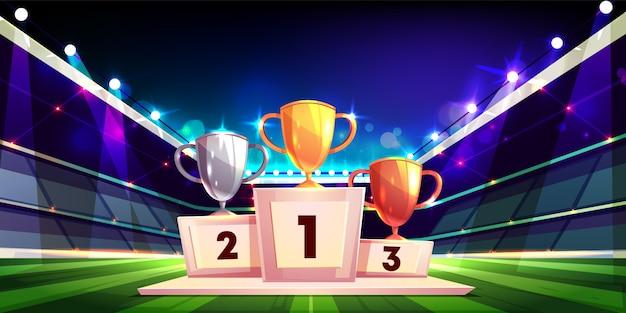 Sieg im sportwettkampfkarikaturkonzept mit den goldenen, silbernen und bronzenen pokaltrophäen
