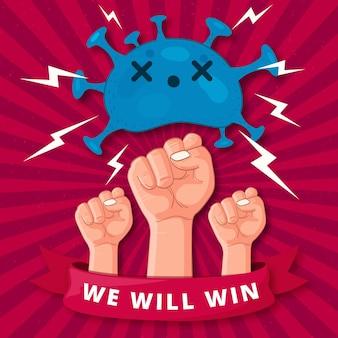 Sieg über das coronavirus-konzept
