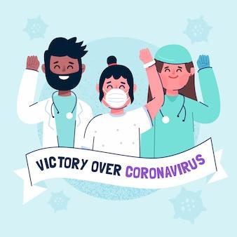 Sieg über das coronavirus mit medizinischem personal