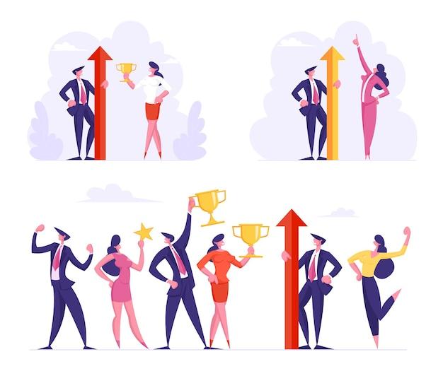 Sieg und geschäftserfolg setzen team von männlichen und weiblichen bürocharakteren in formeller kleidung