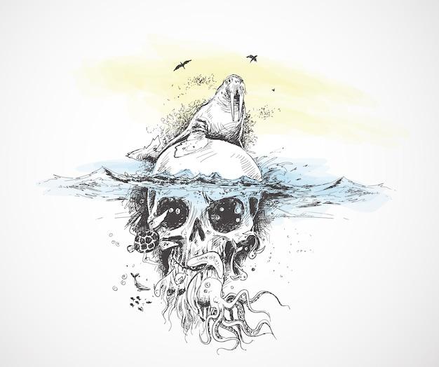 Siegel mit unterwasserschädeln piraten-design-plakat-vektor-illustration